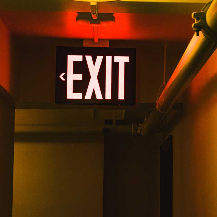 Leaving a job - exit sign